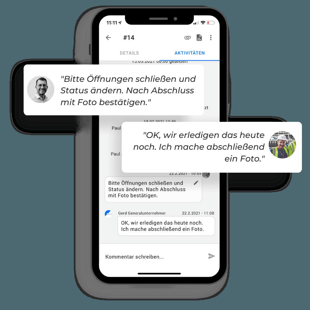 Kommunikation bei Mängeln